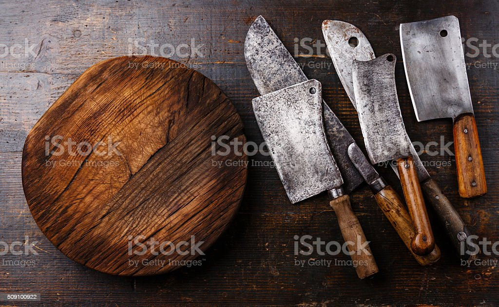 Butcher Meat cleavers and Chopping board block stock photo