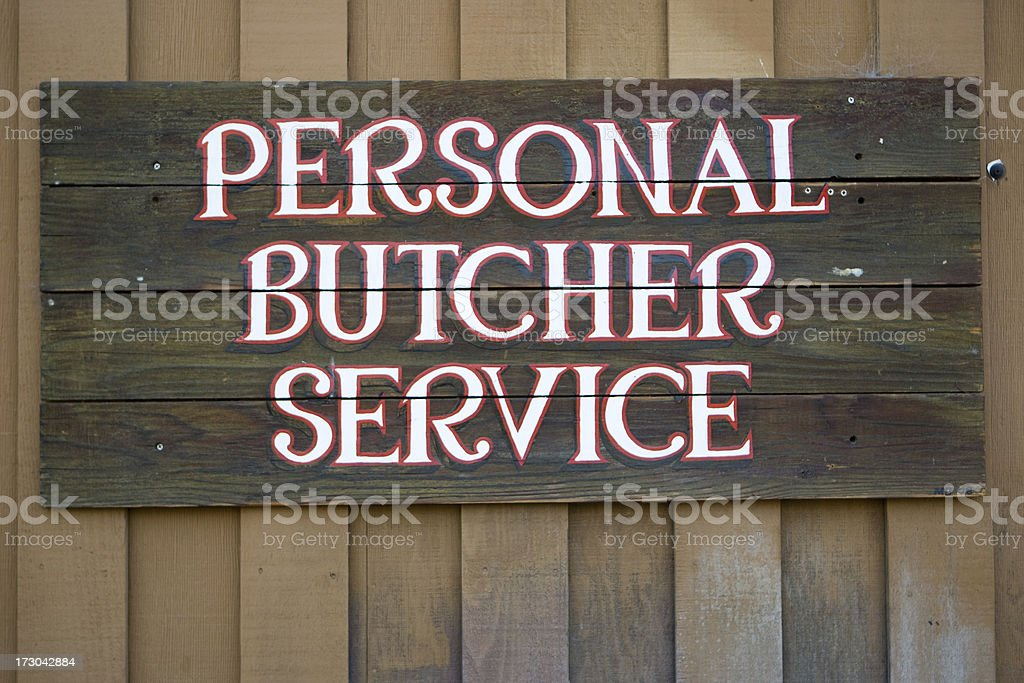 Butcher Services Sign royalty-free stock photo
