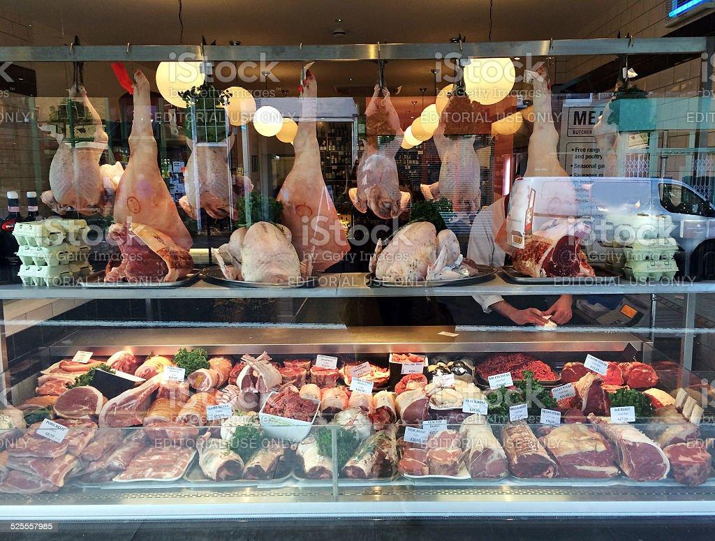 Butcher Shop Window stock photo