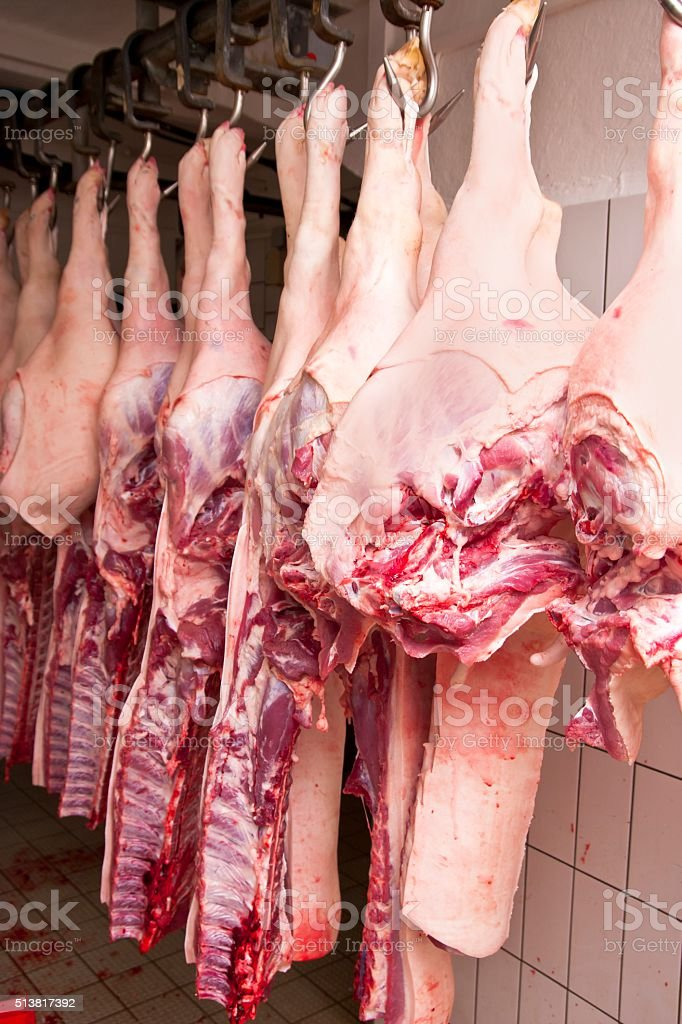 Butchered Pork Legs with Ribs stock photo
