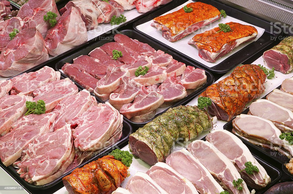 Butchers Counter stock photo