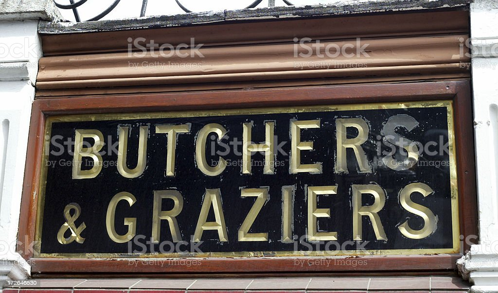 Butchers & Graziers Old Shop Sign royalty-free stock photo