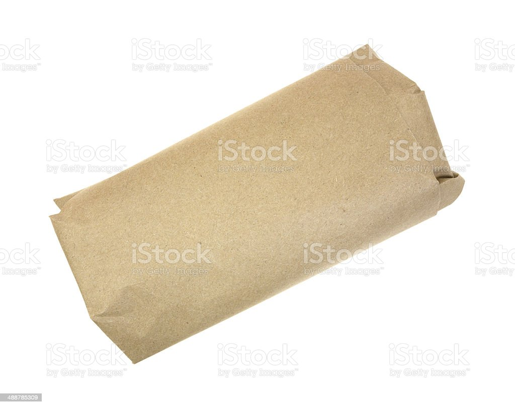Butchers meat wrapped in brown paper stock photo