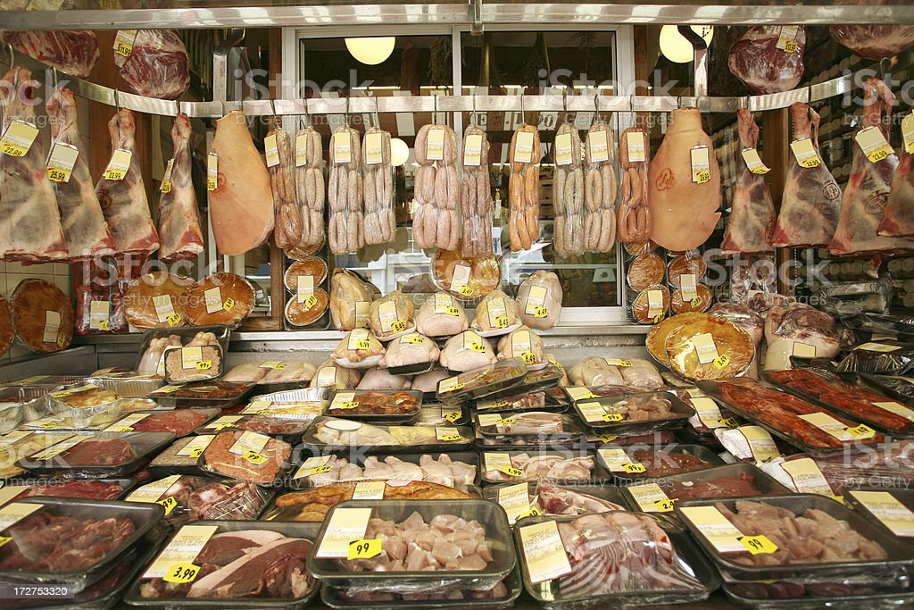 Butchers Store Front stock photo