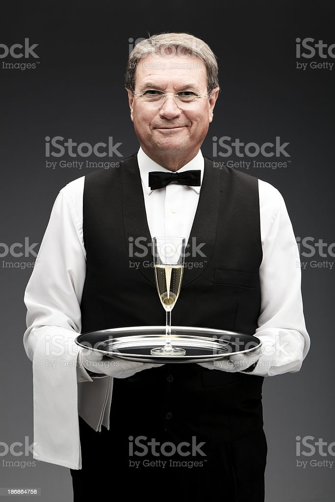 butler and champagne flute royalty-free stock photo