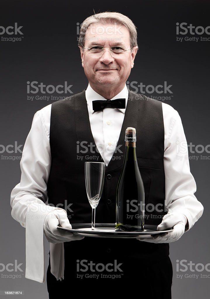 butler and champagne royalty-free stock photo
