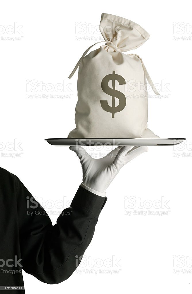 Butler carrying money bag on silver serving tray stock photo
