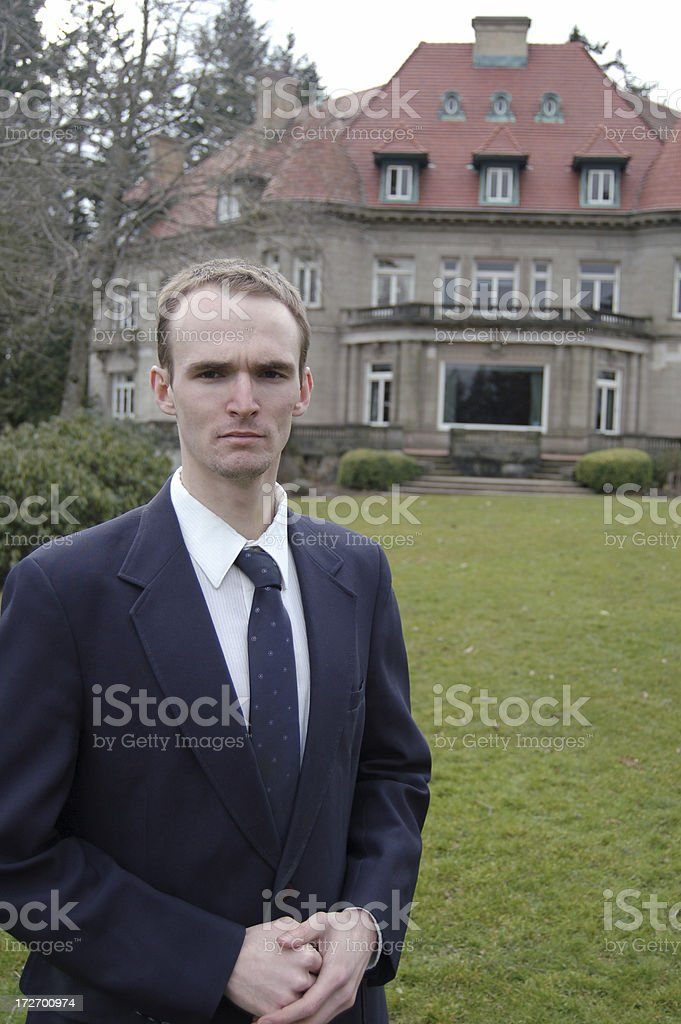 Butler Escorts You To The Mansion stock photo