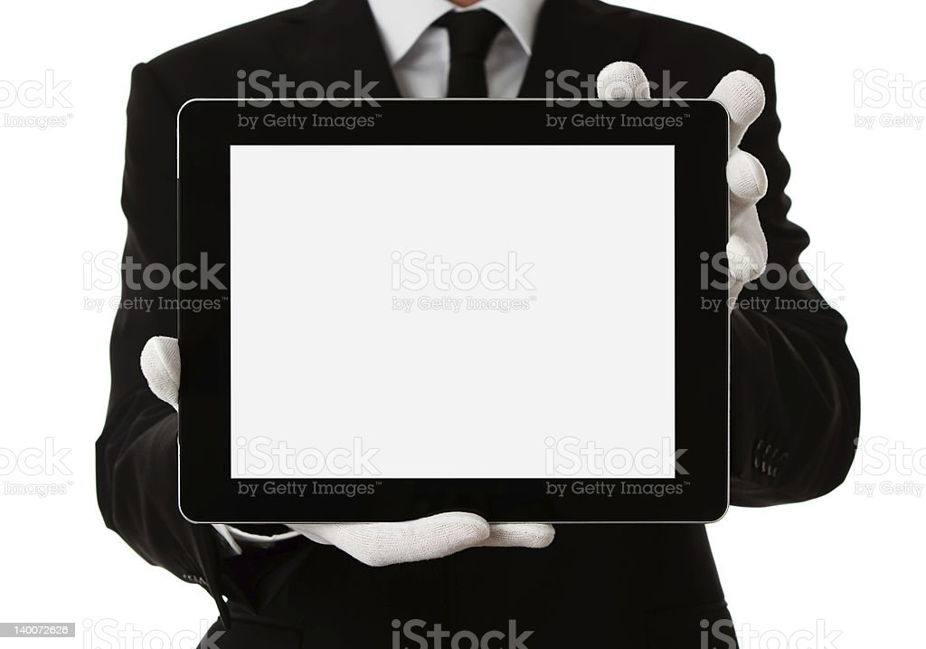 Butler holding digital tablet stock photo