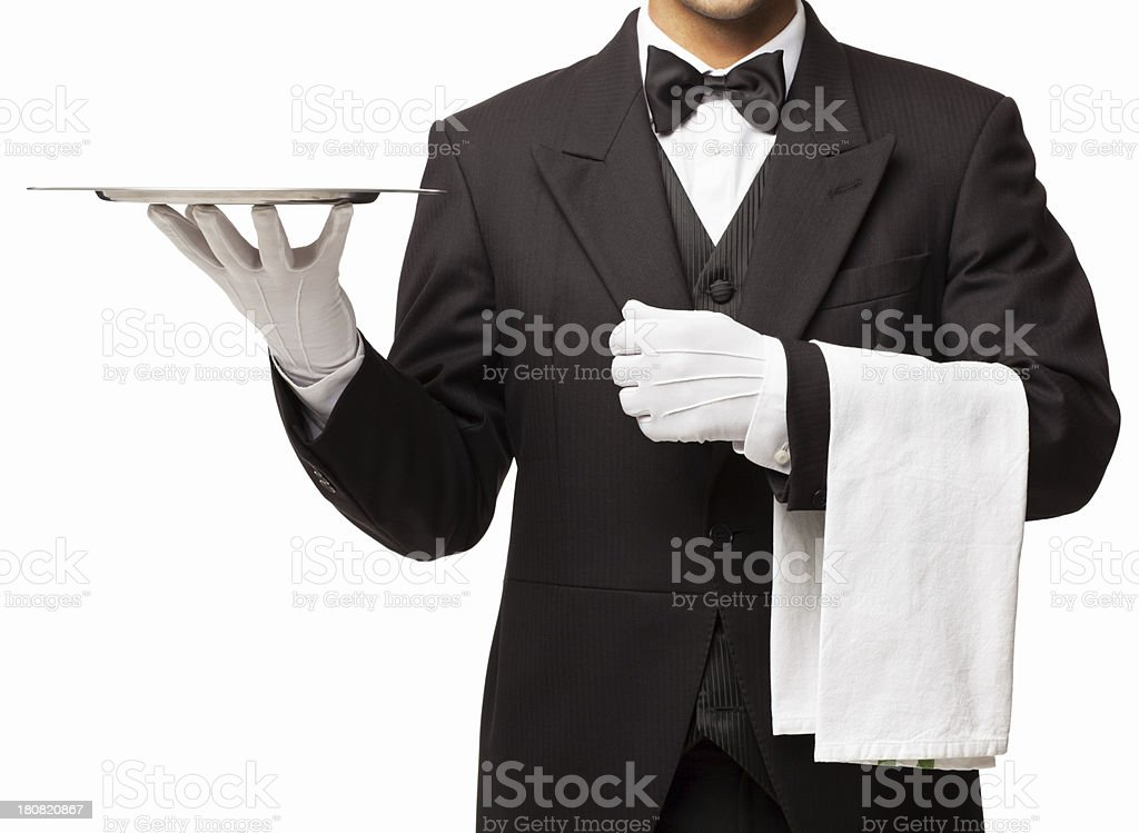 Butler Holding Tray And Napkin - Isolated stock photo