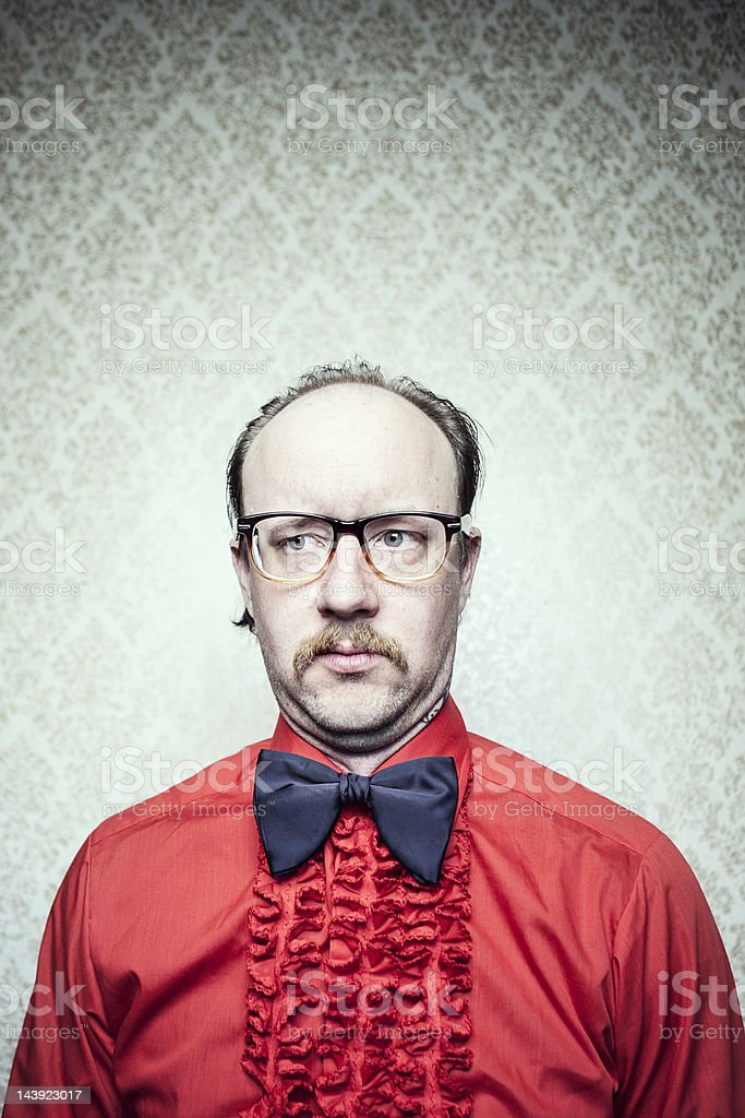 Butler Man in Red Frilly Shirt & Bow Tie royalty-free stock photo