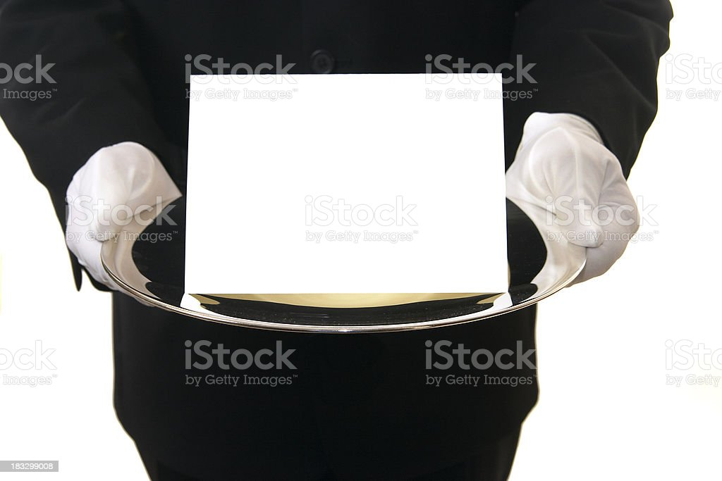 Butler Presenting Blank Card on Silver Tray stock photo