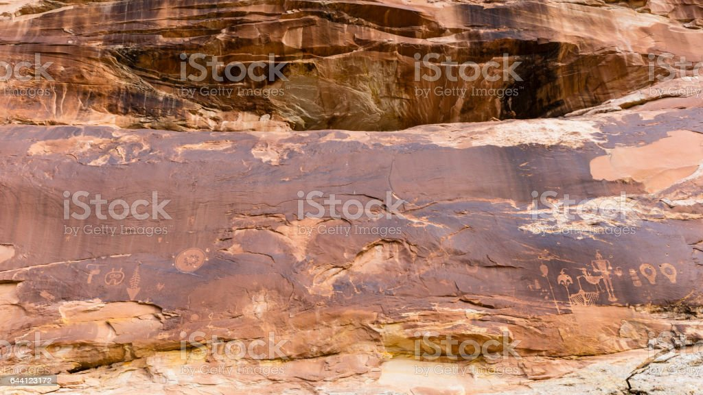 Butler Wash CLiff Wall and Petroglyphs stock photo