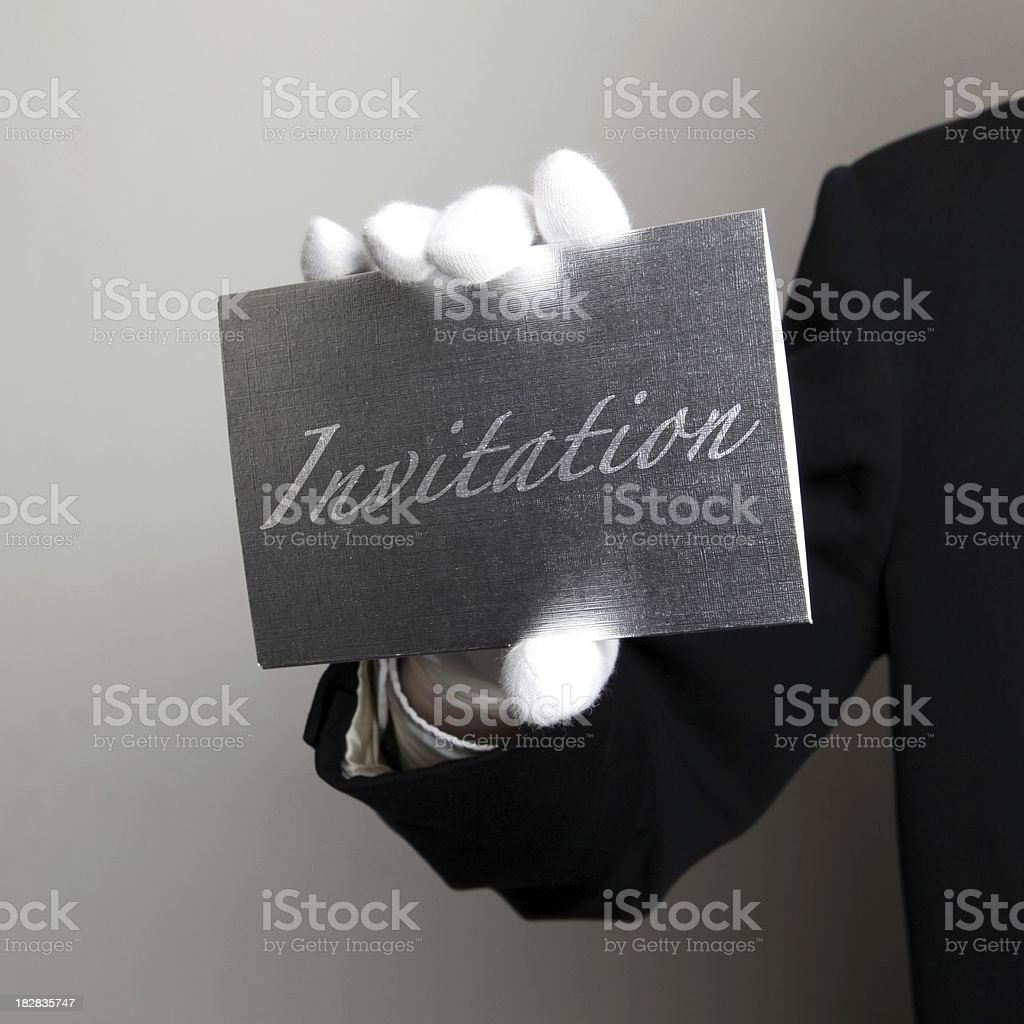 Butler with Silver invitation stock photo
