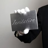 Butler with Silver invitation