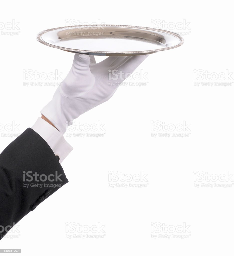 Butlers Gloved Hand With Tray stock photo
