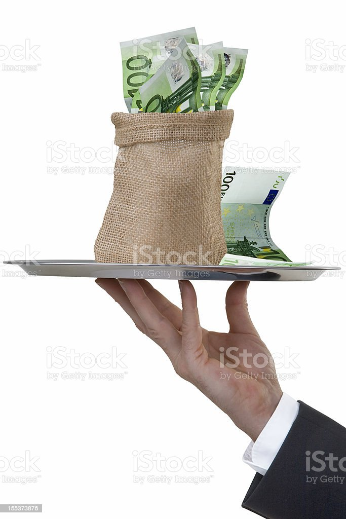 Butler's Hand serving a money sack royalty-free stock photo