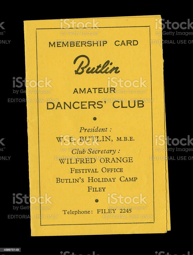 Butlin's Amateur Dancers' Club card stock photo