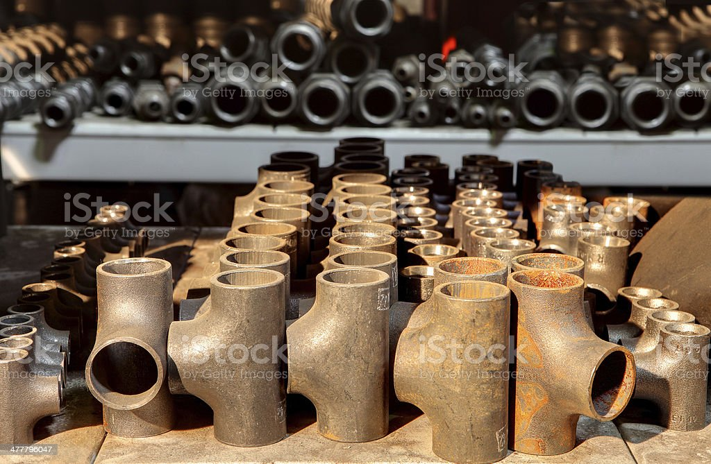 Butt Weld Pipe Fittings Equal Tee, Steel Buttweld, stock photo