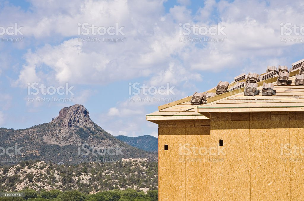 Butte and Housing Construction royalty-free stock photo
