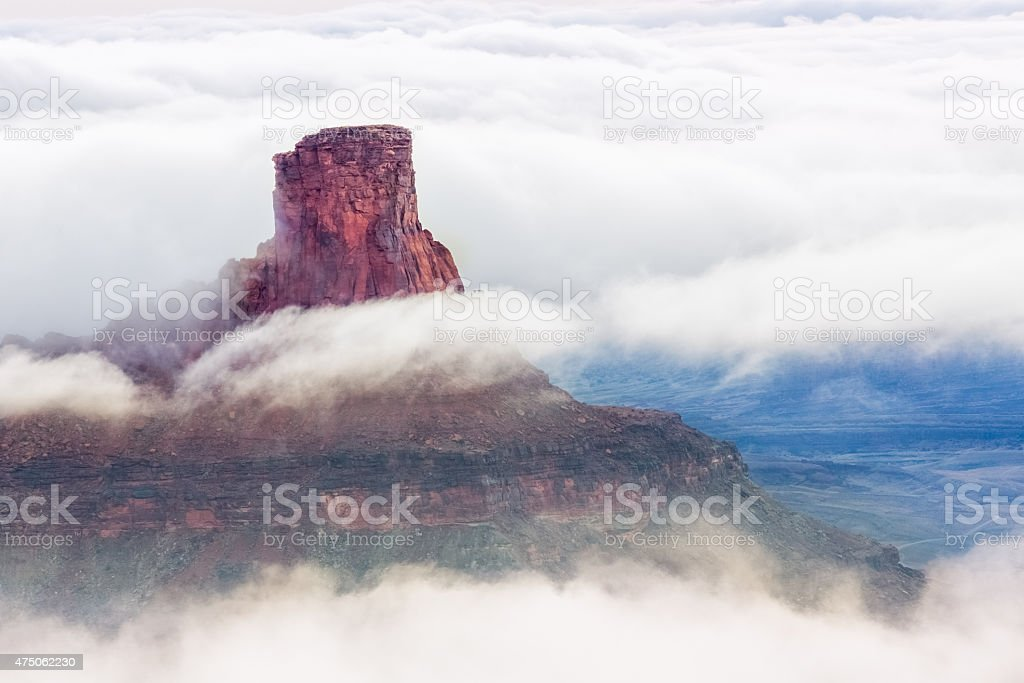 Butte in the Clouds at Canyonlands National Park , Utah stock photo