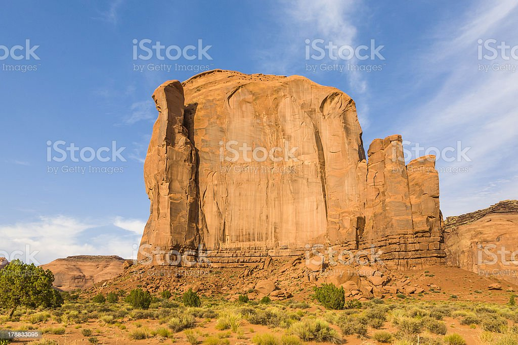 Butte is a giant sandstone formation in the Monument valley royalty-free stock photo