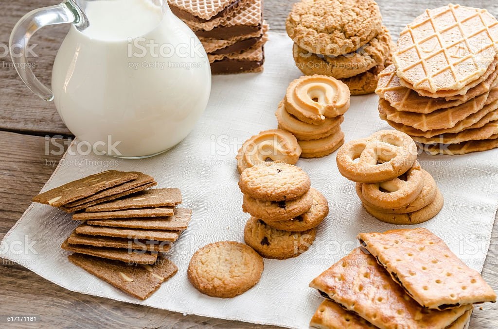 Butter and almond cookies stock photo