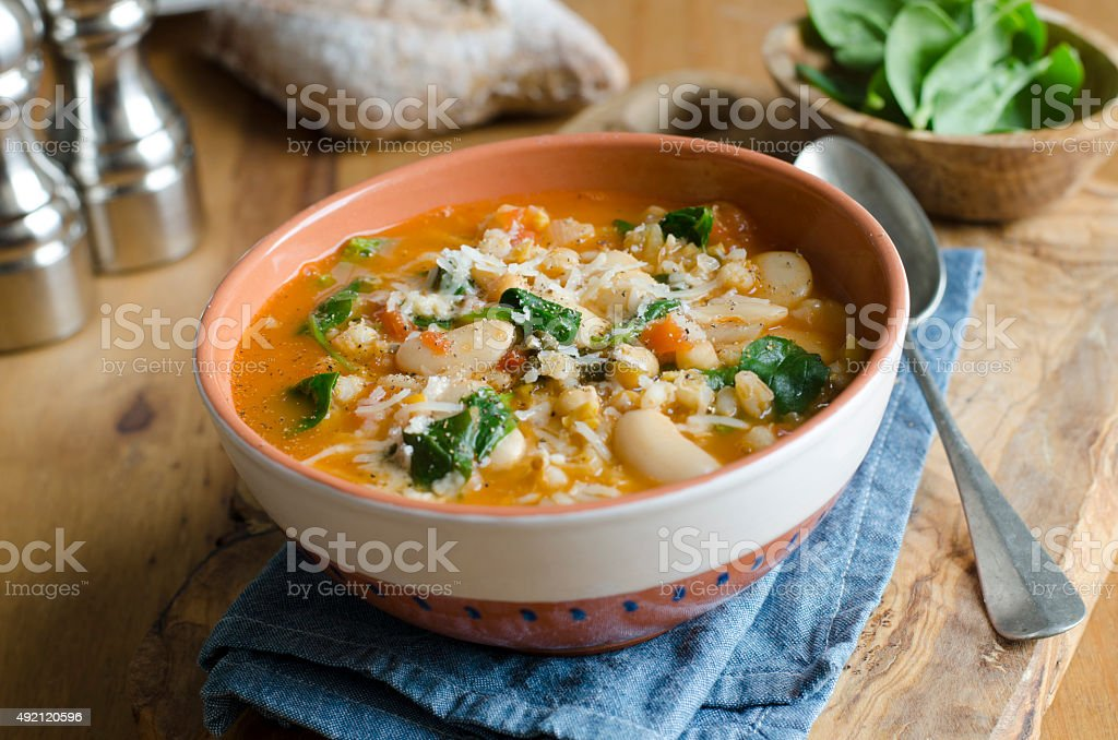 Butter bean and barley soup stock photo