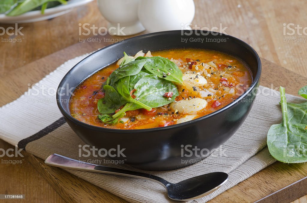 Butter bean and chorizo soup royalty-free stock photo