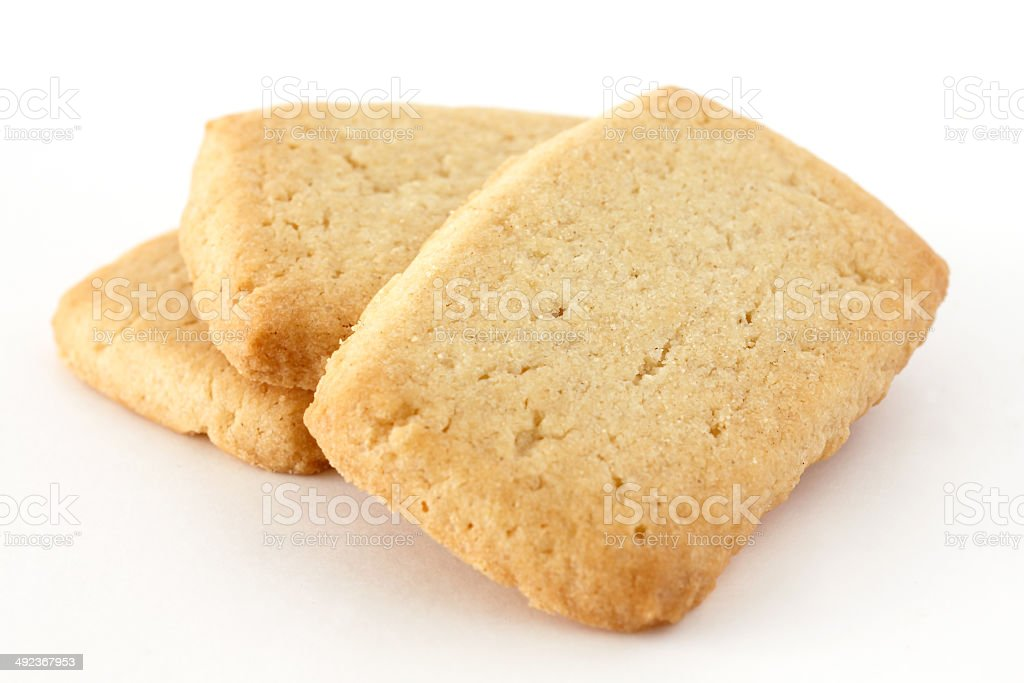 Butter biscuits in a stack on white surface. stock photo