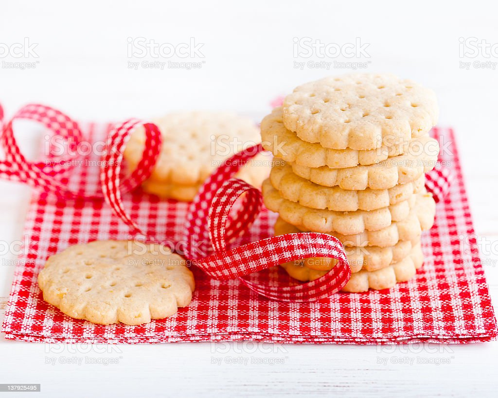 Butter biscuits on checkered napkin stock photo