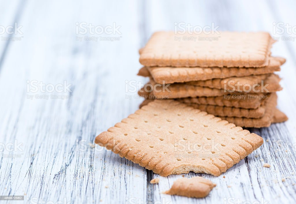 Butter Biscuits on wood stock photo