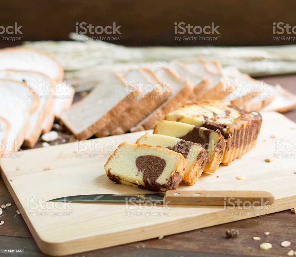 Butter cake with bread  on table stock photo
