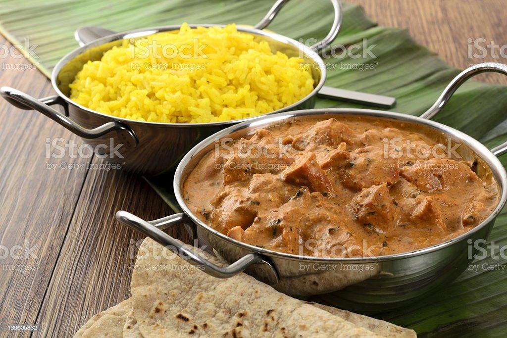 Butter Chicken & Lemon Rice stock photo