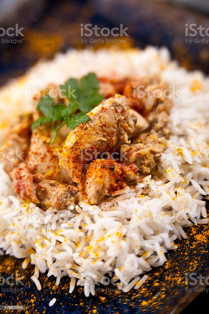 Butter chicken and rice on a plate stock photo