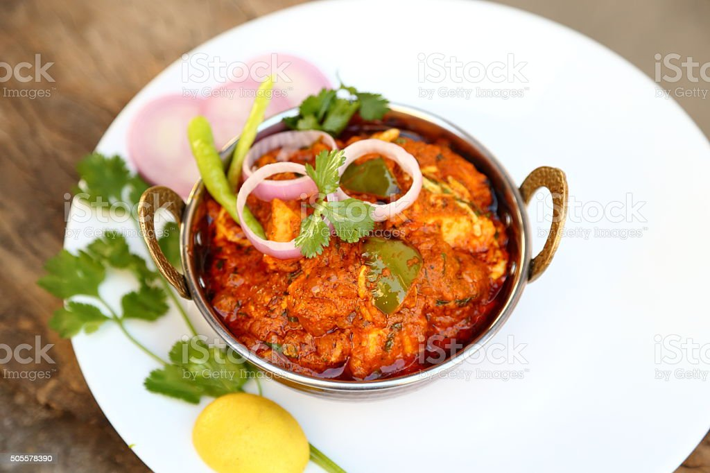 Butter chicken curry or Indian style cottage cheese curry stock photo