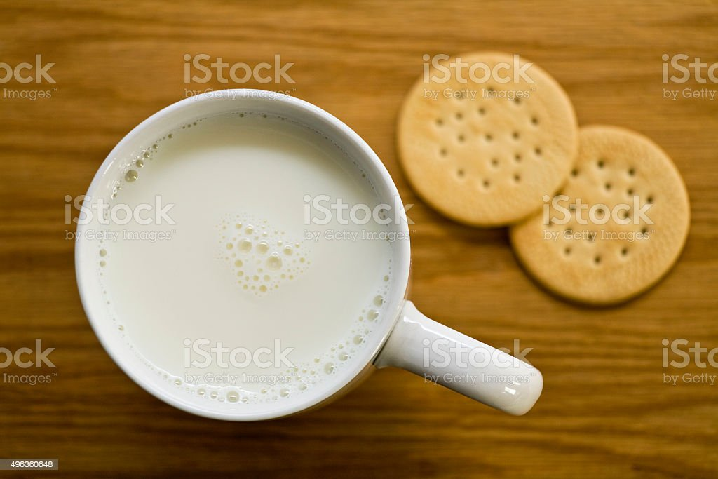Butter Cookies and a cup of milk stock photo