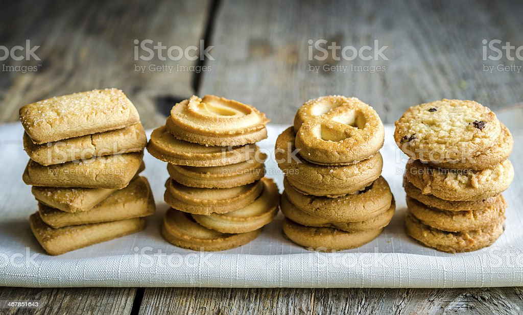 Butter cookies arranged in a row stock photo