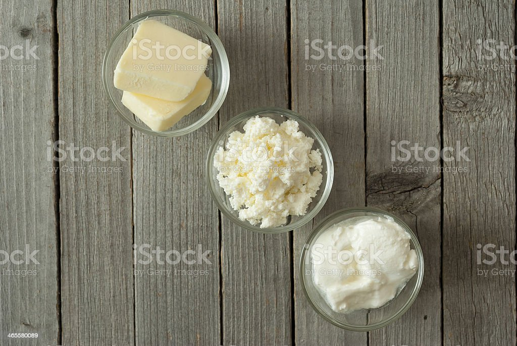 Butter, curd cheese, creme freche royalty-free stock photo