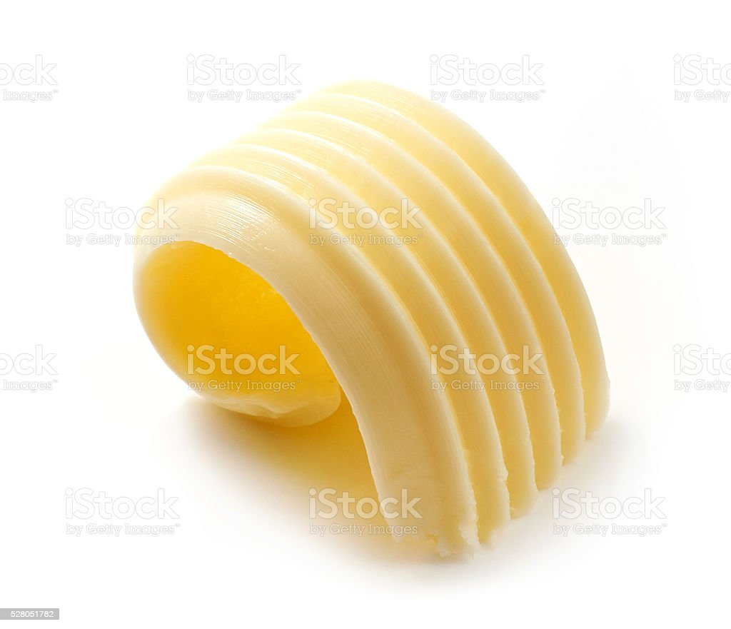 butter curl on white background stock photo