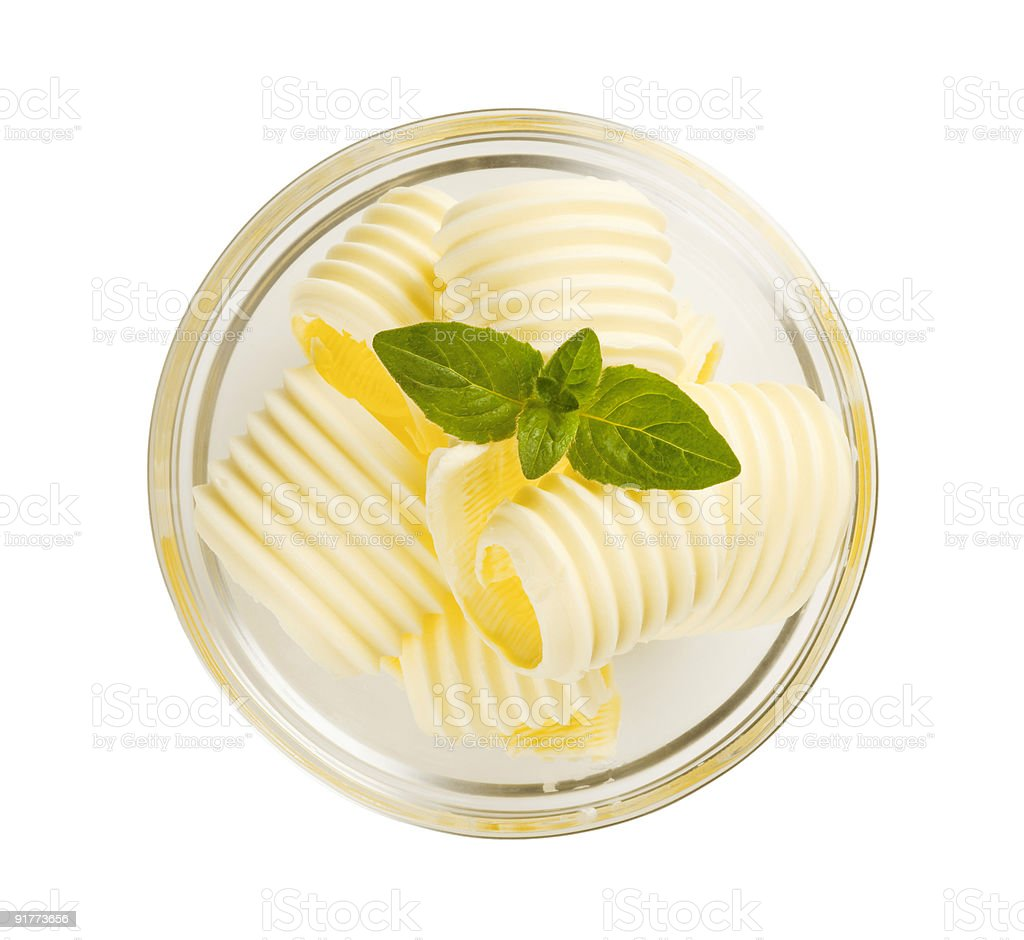 Butter curls in a glass bowl royalty-free stock photo