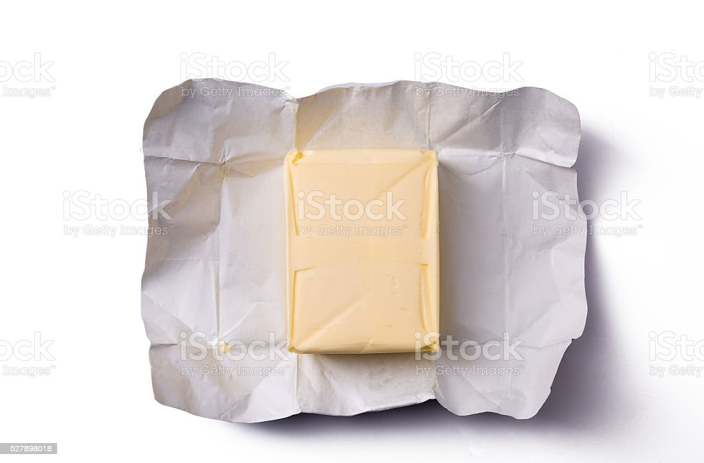 butter in open packaging stock photo