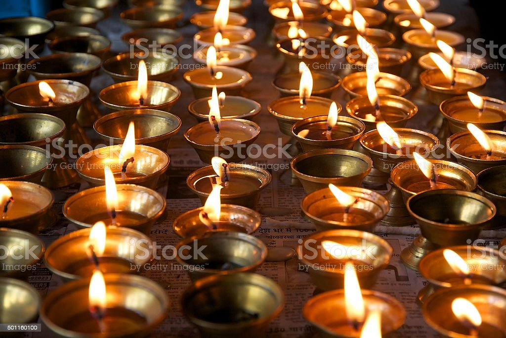 Butter lamp at the monastery, Sikkim, India stock photo