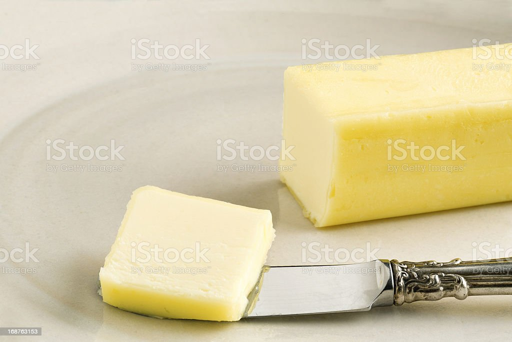 Butter on Handmade Plate royalty-free stock photo