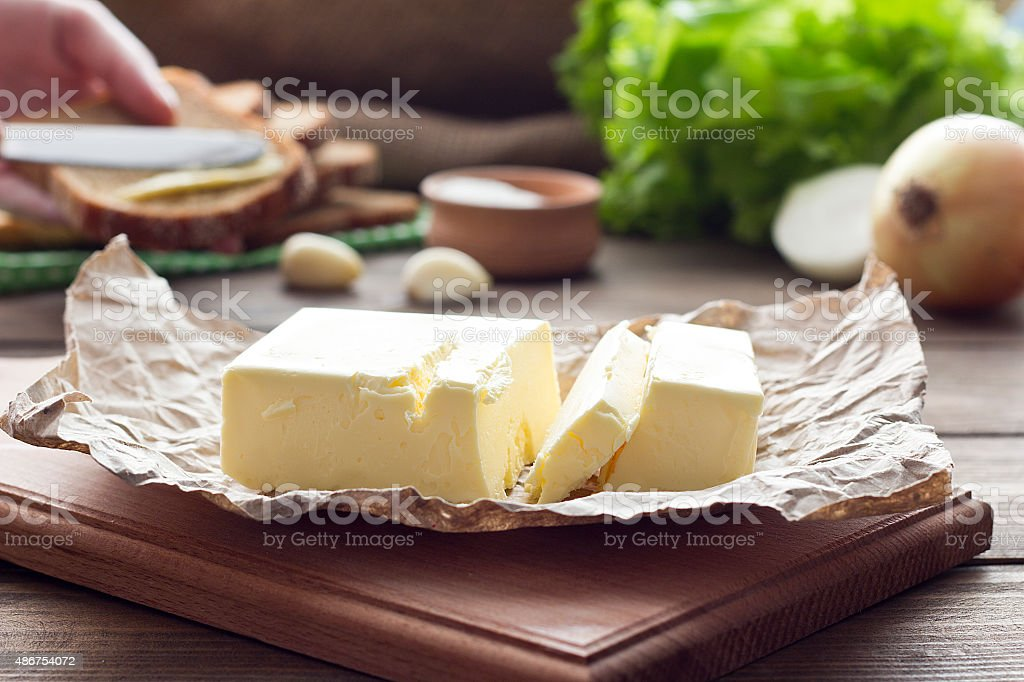 butter on the board stock photo