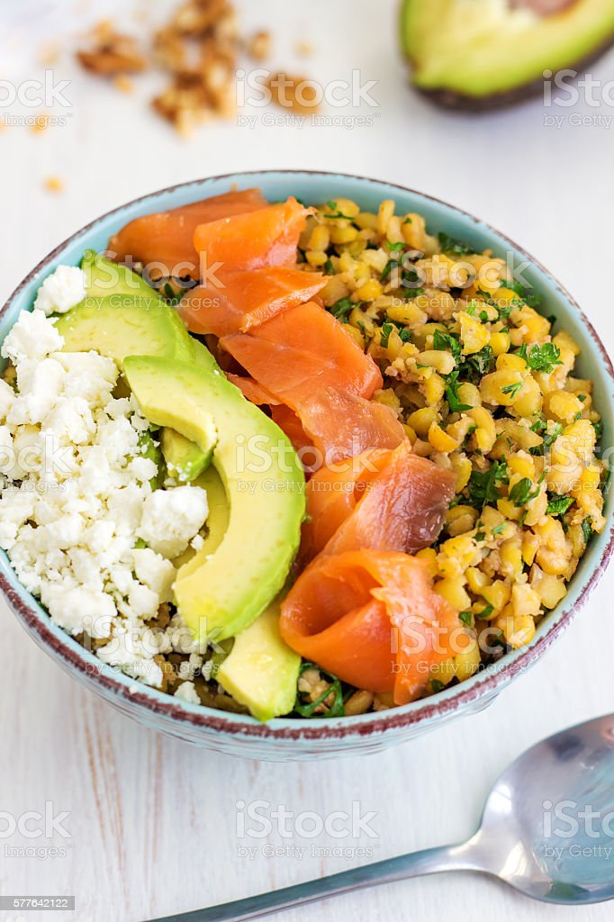 Butter Roasted Split Pea Power Bowl stock photo
