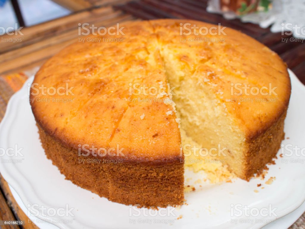 butter soft cake, close-up of a slice of cake stock photo