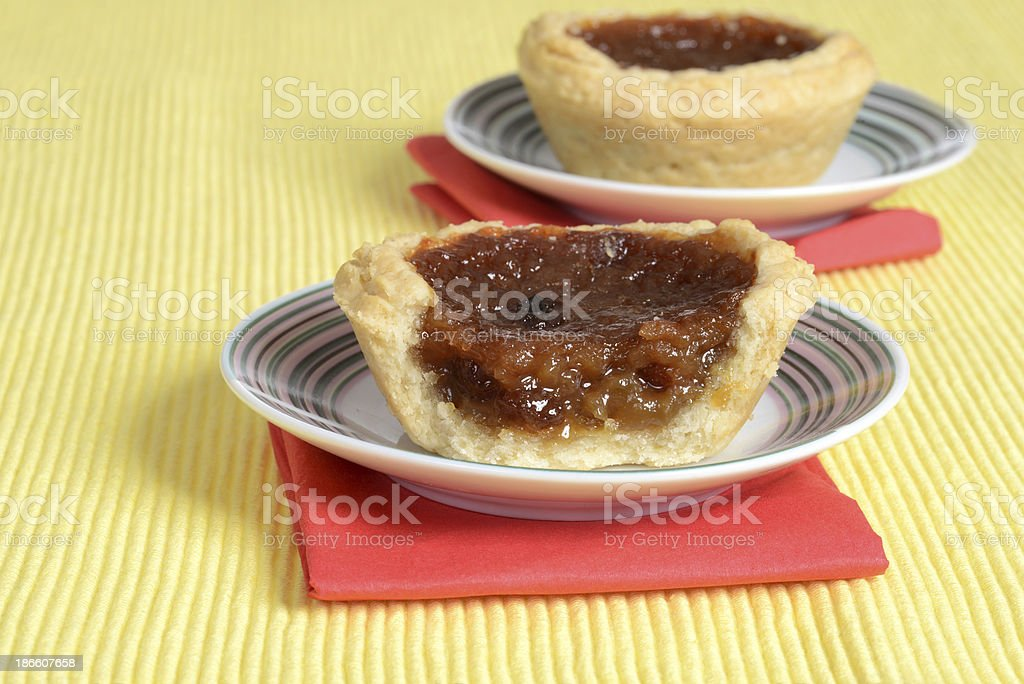 butter tart on a plate stock photo
