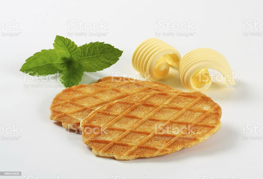 Butter waffle cookies stock photo