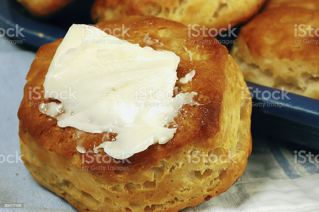 Buttered Biscuit royalty-free stock photo